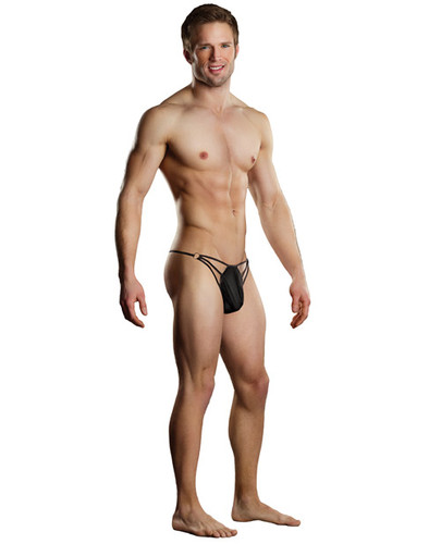 Male Power G-String Includes Straps & Rings Black L/Xl