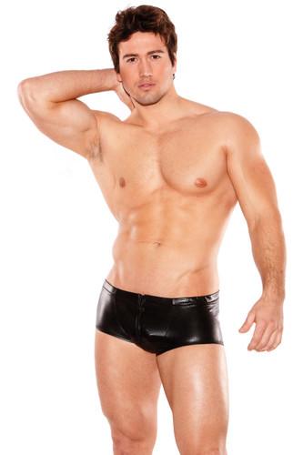 Zeus Wet Look Front Zipper Short Black - One Size Fits All