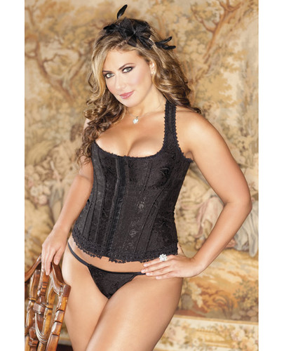 Brocade Racerback Corset Includes Hook & Eye Closure, Adjustable Lace-Up Back & G-String Black 44