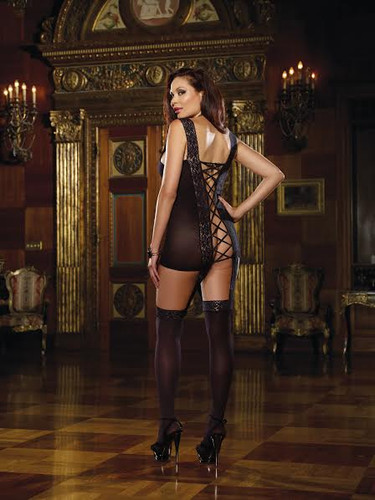 Lace Garter Dress Includes Stretch Trim Straps, Satin Ribbon Back & Attached Stockings Black Queen