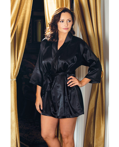Satin 3/4 Sleeve Robe Includes Matching Sash Black 3X/4X