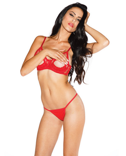 Lace Underwire Open Tip Bra Includes Adjustable Straps & Back Red 34