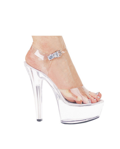 "Ellie Shoes Brook 6"" Pump 2"" Platform Clear Eight"