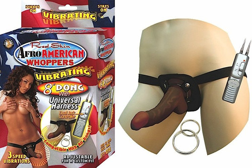 "Afro American Whoppers 8"" Dong Includes Universal Harness"