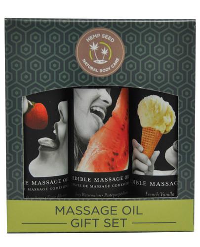 Earthly Body Edible Massage Oil Gift Set - 2 oz Watermelon, Strawberry & Vanilla
