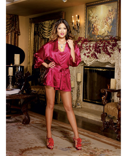 Charmeuse Short Length Kimono With Matching Chemise Red Sm