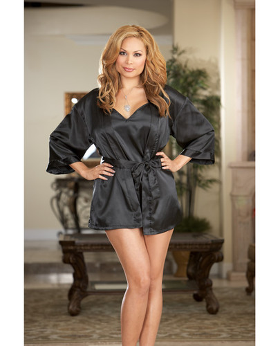 Charmeuse Short Length Kimono With Matching Chemise Black 3X/4X
