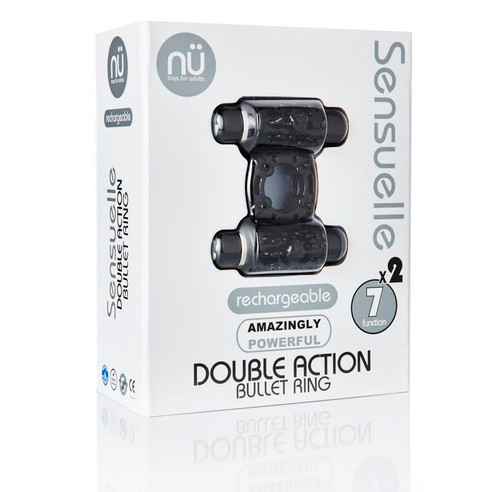 Sensuelle Double Action Cock Ring - 2 X 7 Function Black