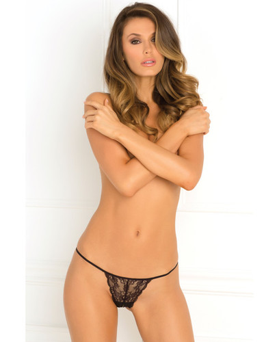 Rene Rofe Get Your Back Crotchless Thong Black Sm