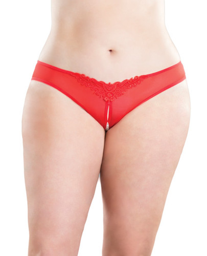 Crotchless Thong With Pearls Red 1x-2x