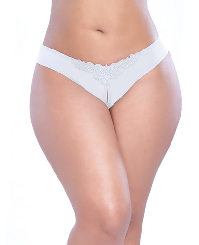 Crotchless Thong With Pearls White 1x-2x