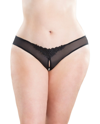 Crotchless Thong With Pearls Black 3x-4x