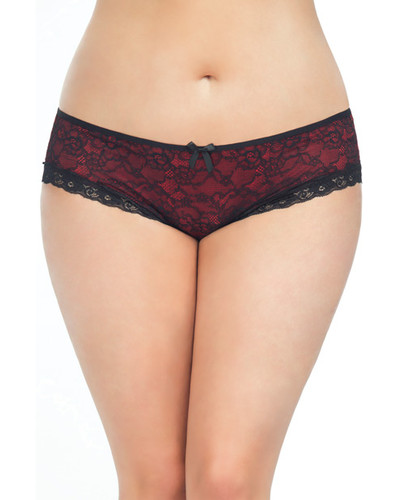 Cage Back Lace Panty Black-Red 3x-4x