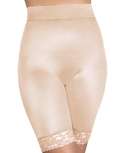 Rago Shapewear Long Leg Shaper With gripper Stretch Lace Bottom Beige 3x