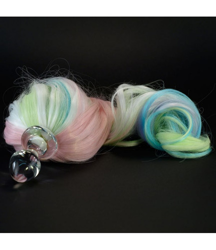 Crystal Delights Detachable Faux Pony Tail Butt Plug / Long Stem - Large Bulb With Pastel 5 - Color Faux Pony Tail