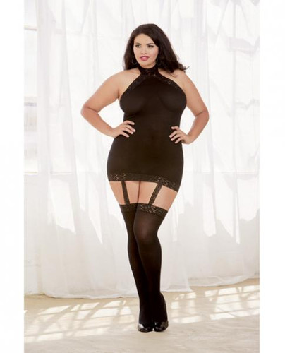 Sheer Dress With Lace Trim, Attached Garters & Thigh High Stockings (Thong Not Included) Black Qn