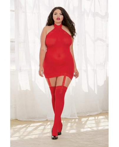 Sheer Dress With Lace Trim, Attached Garters & Thigh High Stockings (Thong Not Included) Red Qn