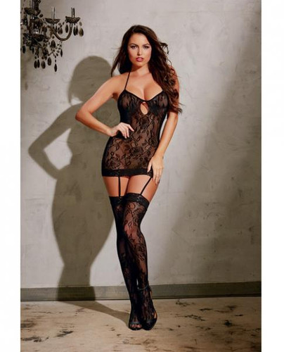 Stretch Lace Garter Dress With Adjustable Halter Ties, Attached Garters & Thigh Highs Black O/S