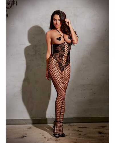 Open Cup Bodystocking With Knitted Lace, Fishnet Legs, Open Crotch & Adjustable Halter Ties Black O/S