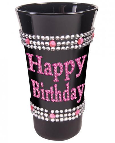 Happy Birthday Shot Glass With Pink Stones Black