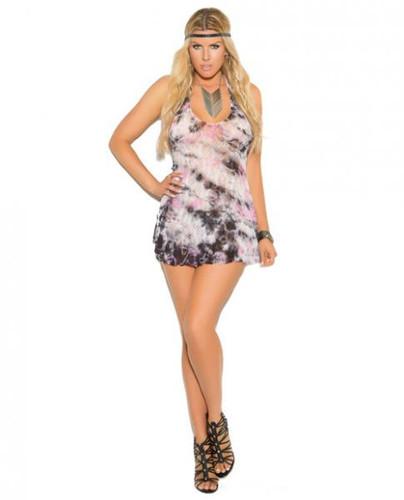 Vivace Lace Halter Mini Dress G-String Multi Color Plus