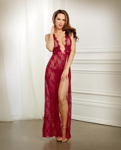 Holiday Lace Gown & G-String Garnet Large