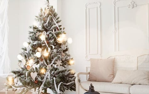 Frosted Artificial Christmas Tree With Clear Christmas Lights