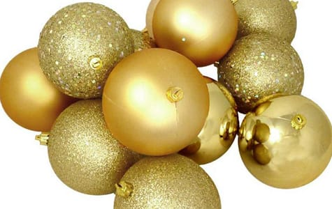Gold Shatterproof Christmas Ornaments