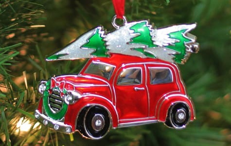 Red Car With Christmas Tree On Top - Christmas Ornament