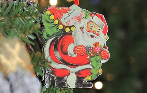 Santa Claus Designed Ornament on Christmas Tree