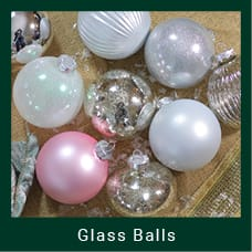 Silver & White Glass Ball Ornaments