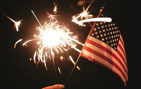 Sparkler & American Flag Decoration