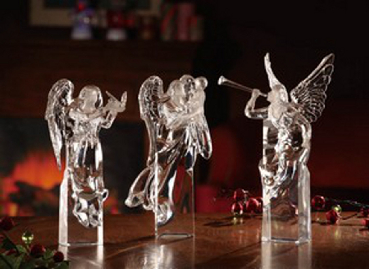 pack of 3 icy crystal decorative religious christmas angel figurines 10 31002400 - Christmas Angel Figurines