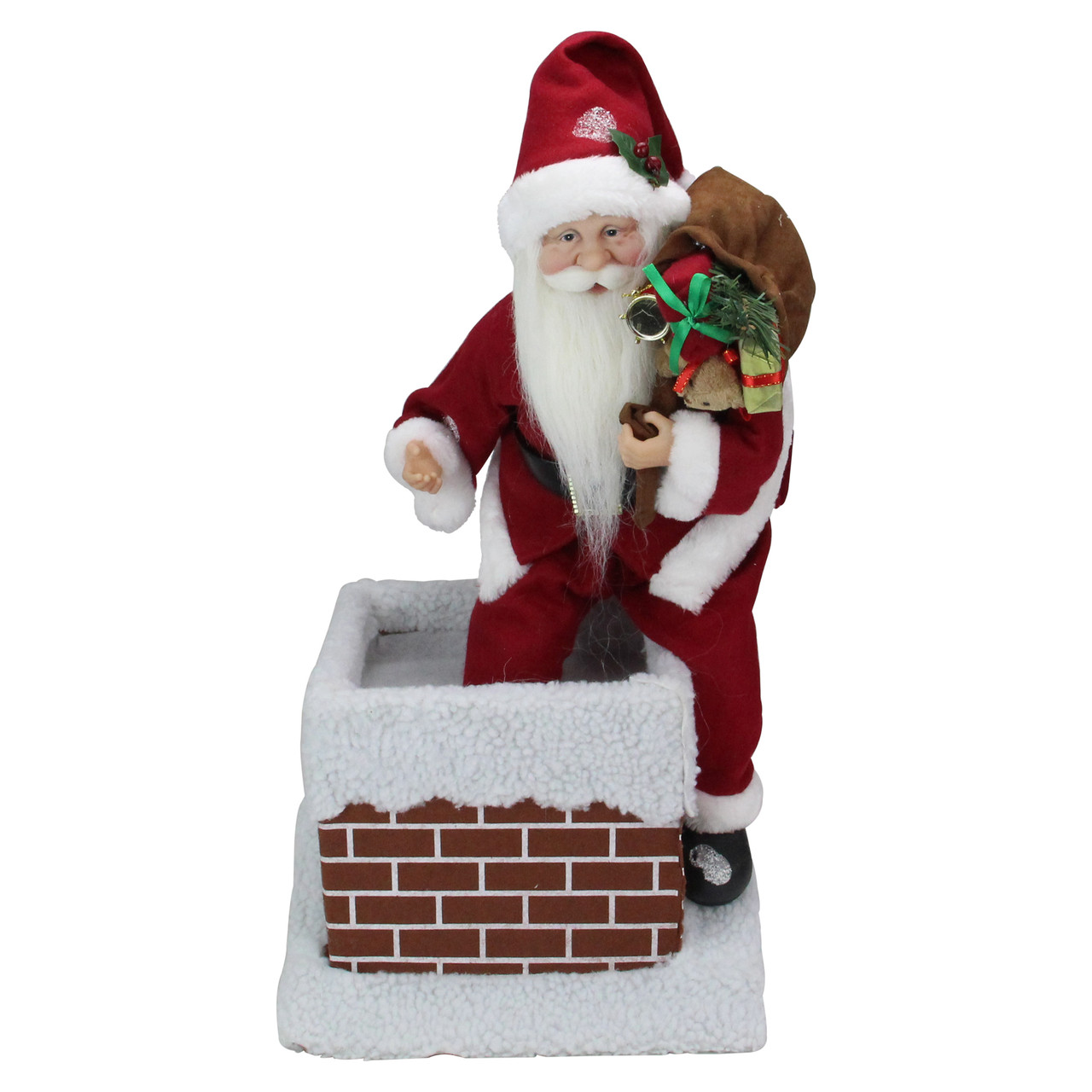 16 5 animated santa claus going down a chimney with gifts christmas