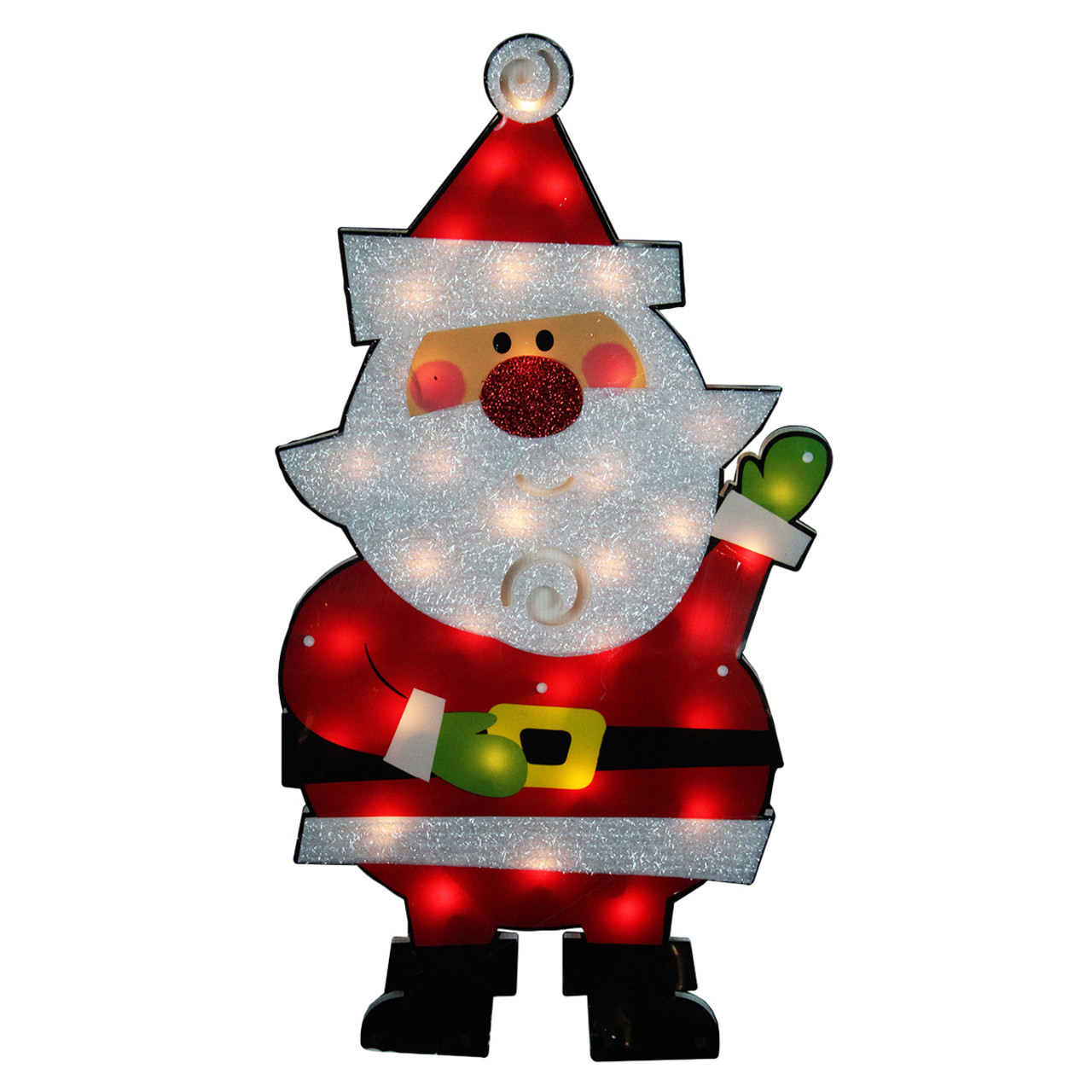 30 standing tinsel santa claus lighted christmas outdoor decoration clear lights 31728966 - Outdoor Tinsel Christmas Decorations
