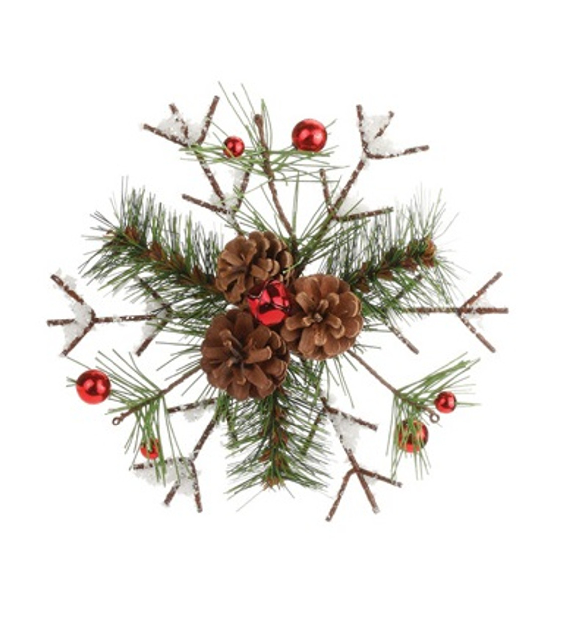 "Red Red Pine Christmas Tree: 8"" Frosted Pine & Pine Cone Snowflake Christmas Tree"