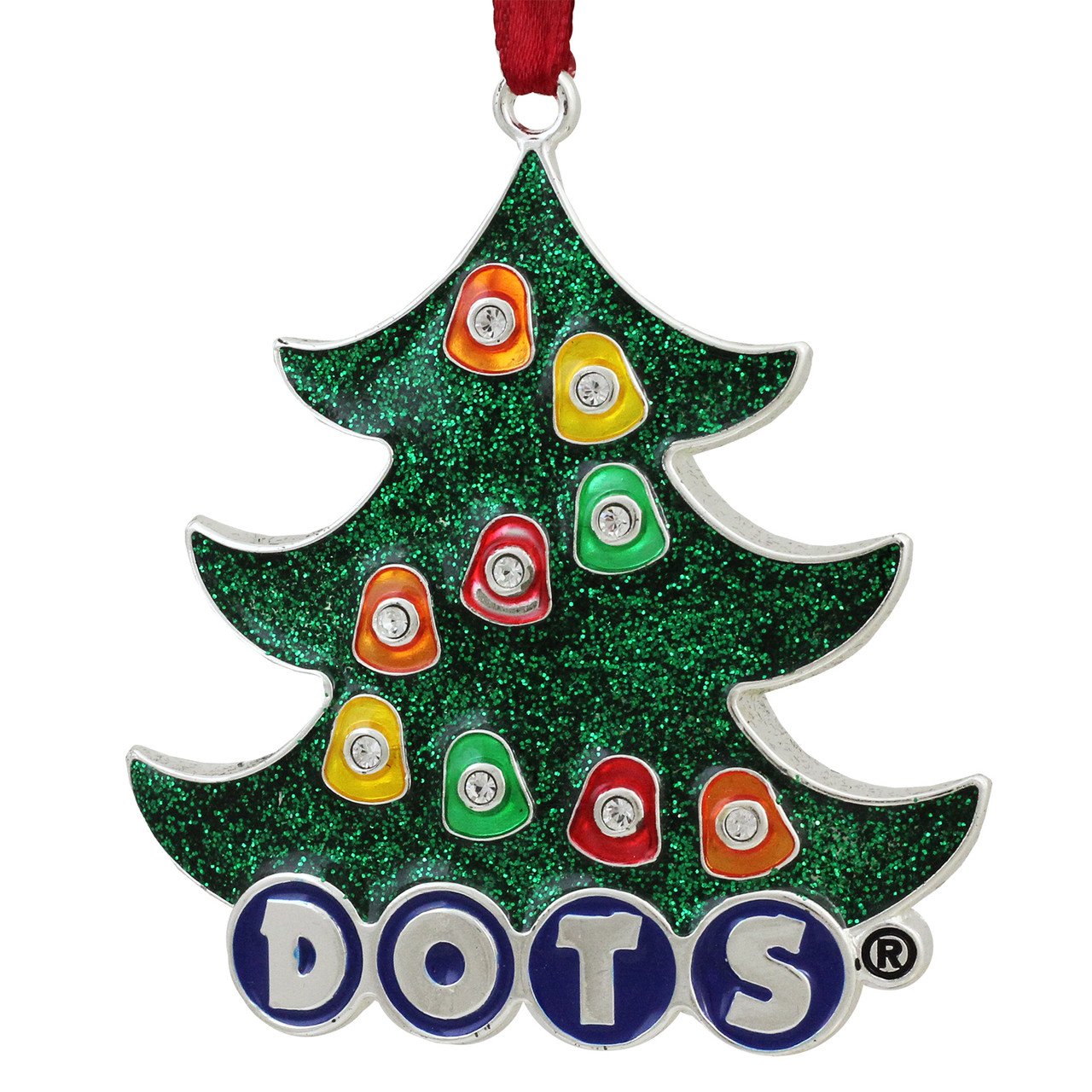 3 silver plated dots candy logo christmas tree ornament with european crystals 31740018 - Silver Plated Christmas Tree Decorations