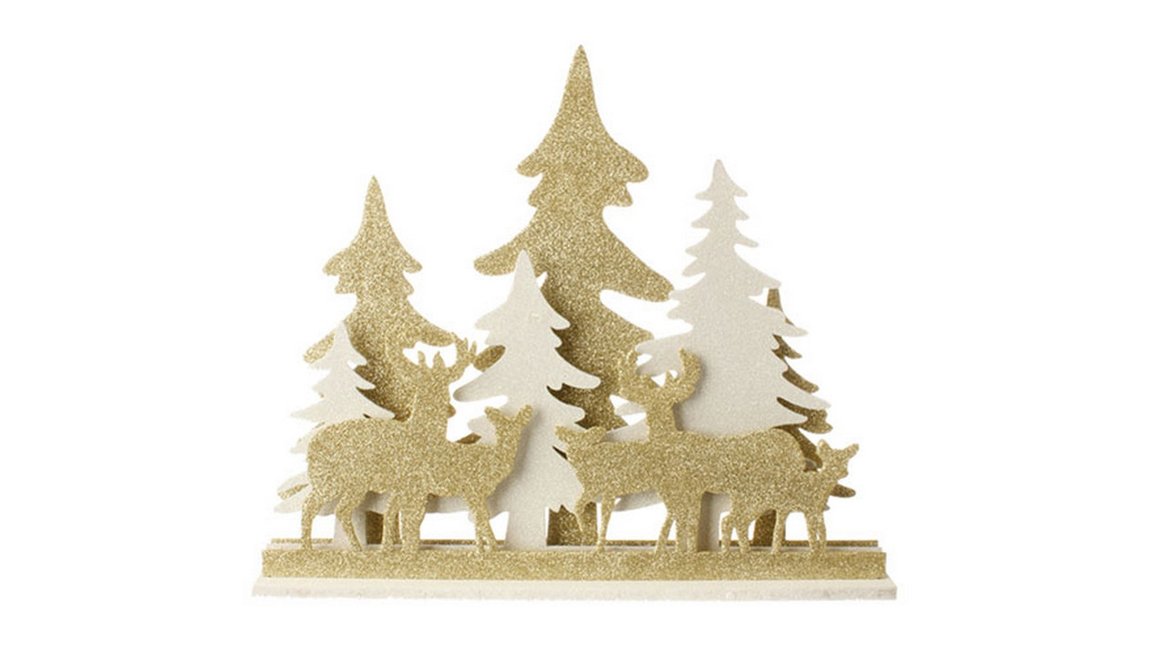 165 gold white led lighted deer and tree silhouette table top christmas decoration 31466862 - Led Lighted Christmas Decorations