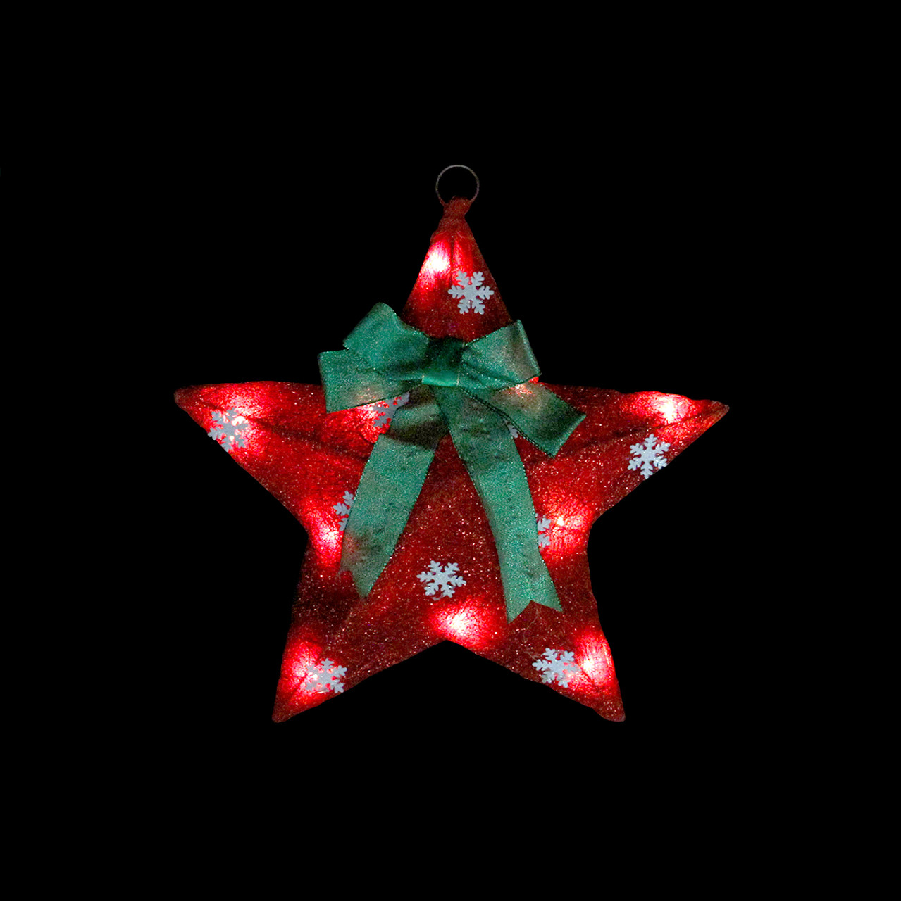 17 lighted red and green sisal hanging christmas star window decoration with bow 31467185