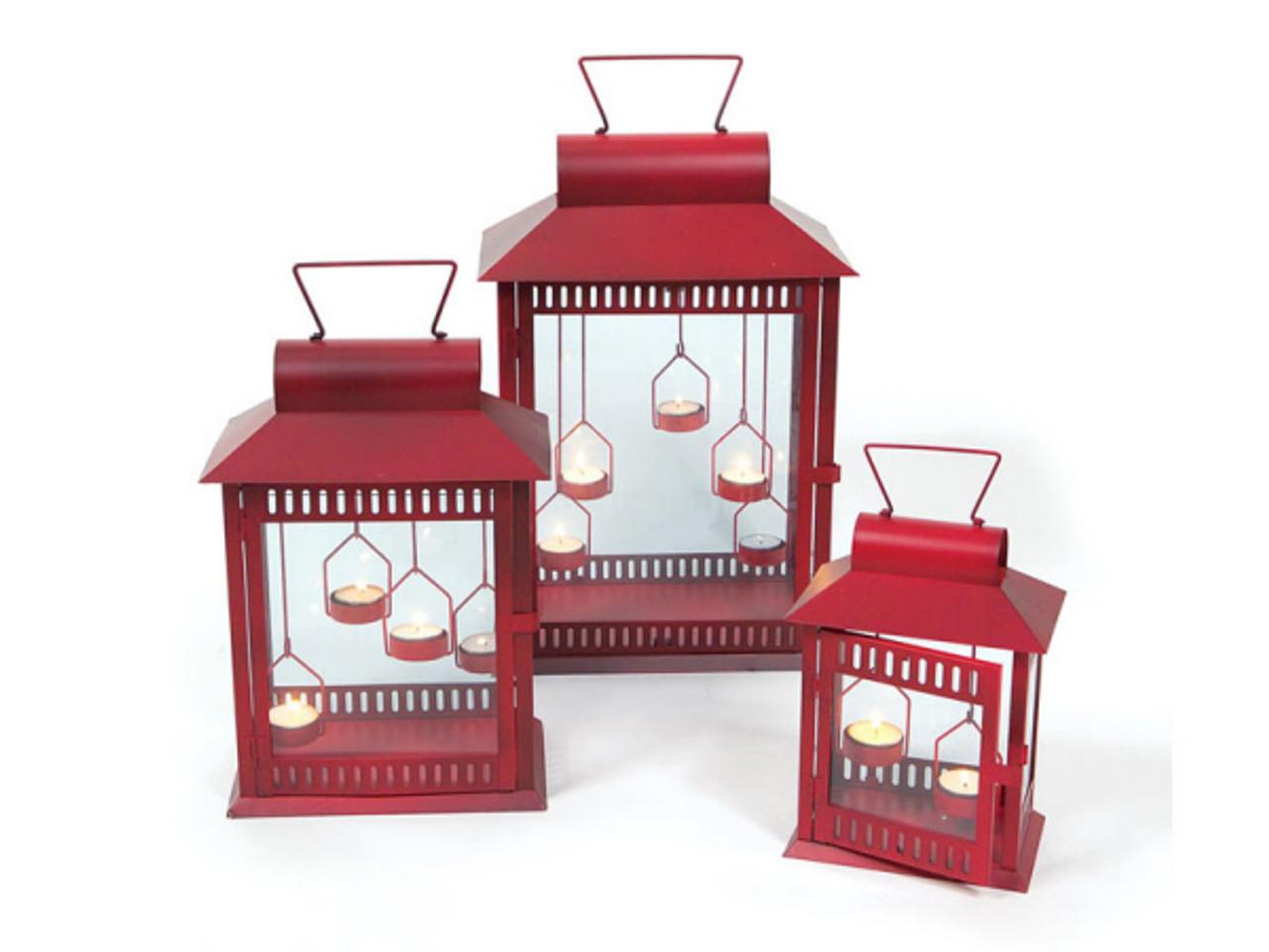 Set of 3 red christmas indooroutdoor tea light candle lanterns 18 set of 3 red christmas indooroutdoor tea light candle lanterns 18 30656468 workwithnaturefo