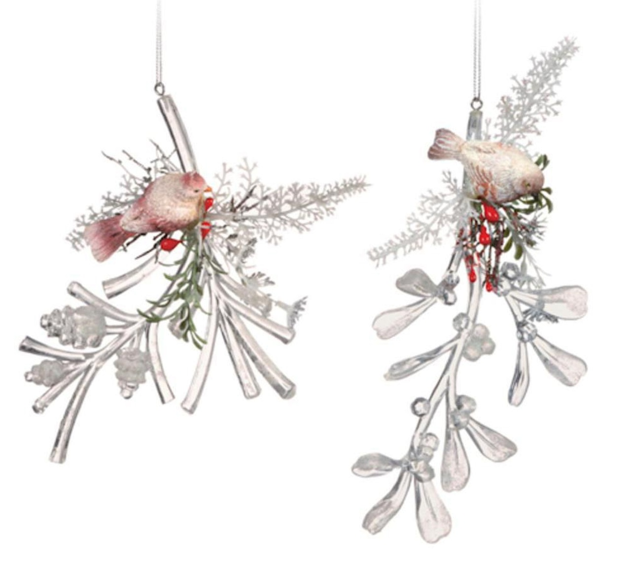 Christmas Great Egret Bird Star Religious Ornament: Club Pack Of 12 Icy Crystal Decorative Christmas Bird On
