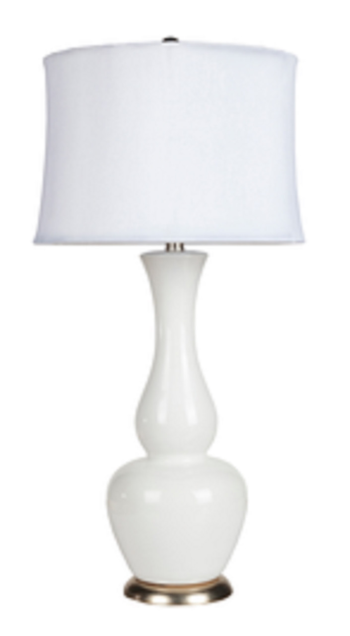 30 Modern Poise Ivory Ceramic Table Lamp With Ivory Modified Drum