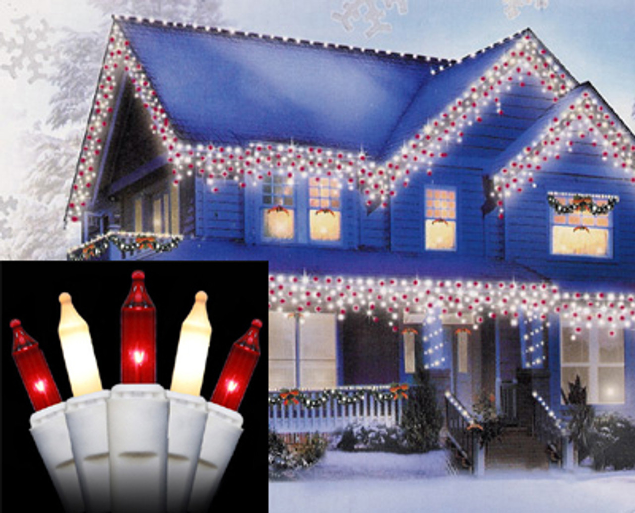 Set of 100 Red & Frosted Clear Mini Icicle Christmas Lights ...