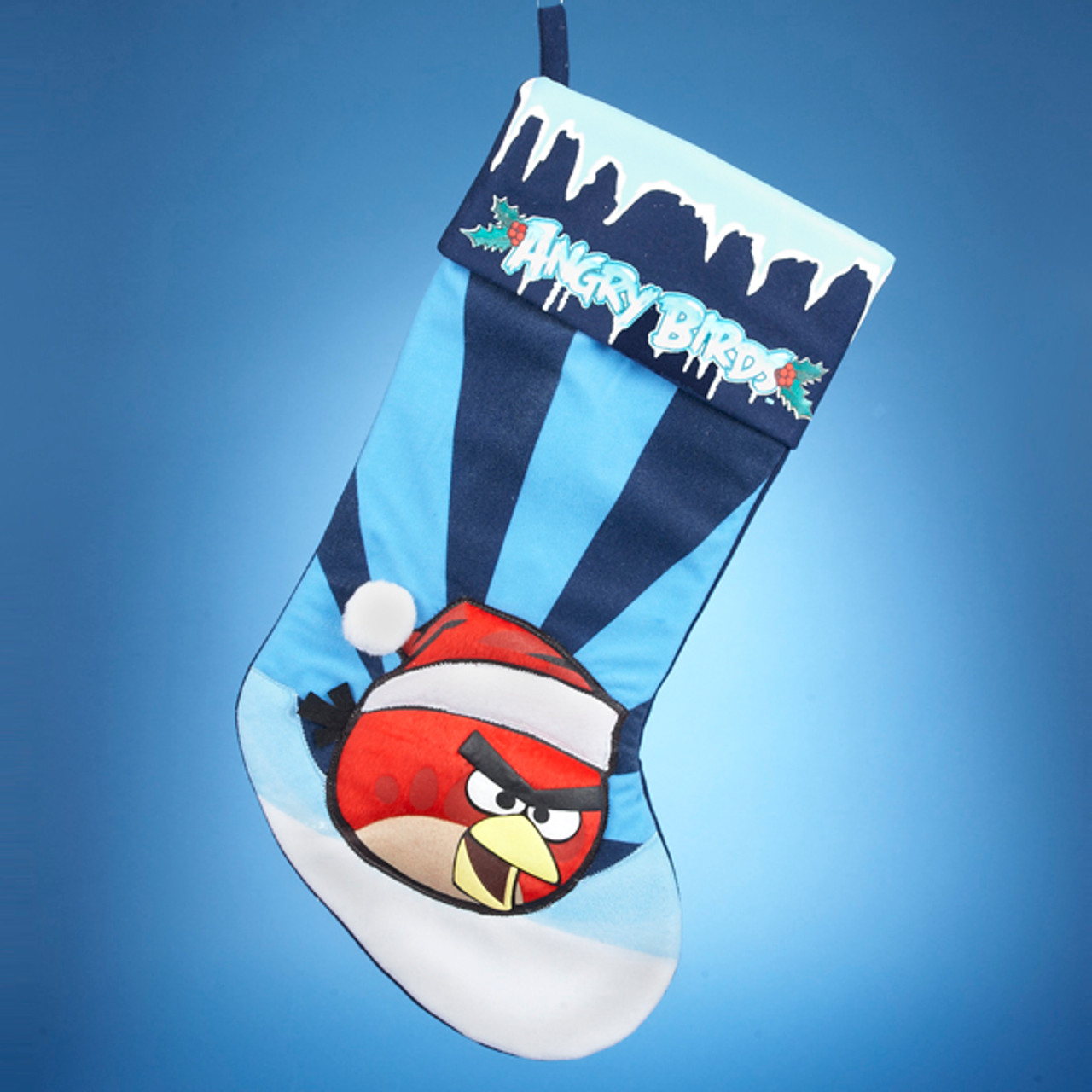 21 angry birds red bird in santa hat striped blue christmas stocking 30838029 - Christmas Angry Birds