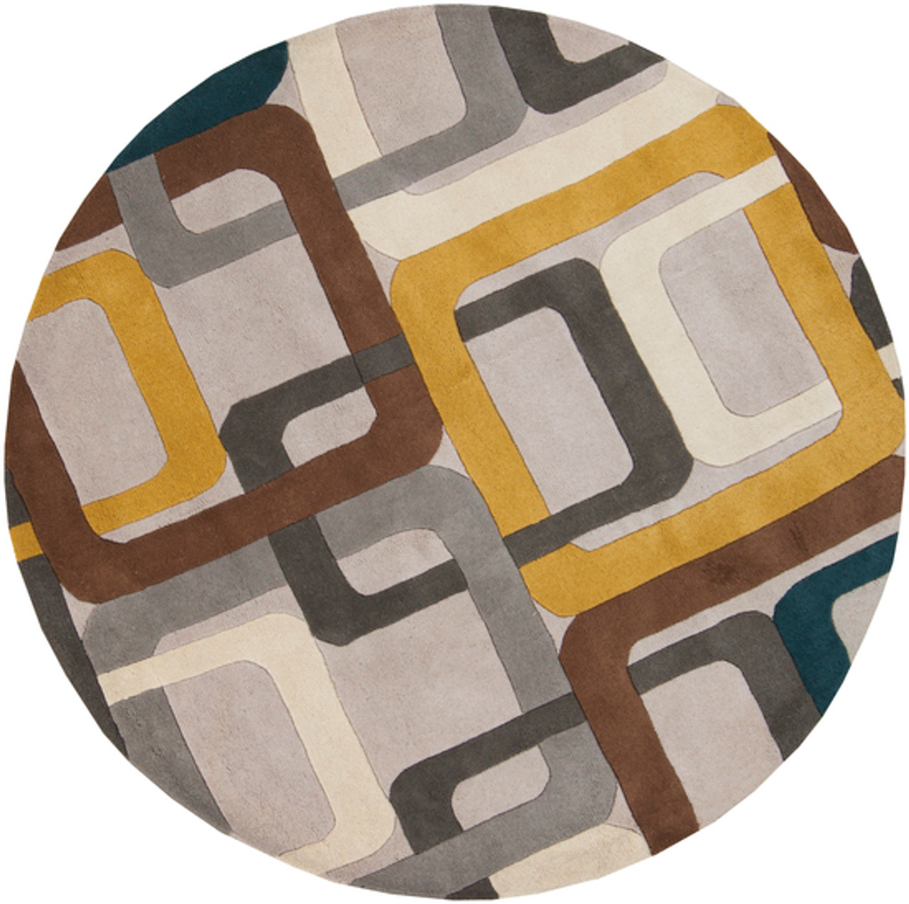 4' Soporific Squircle Gray, White & Teal Blue Hand Tufted