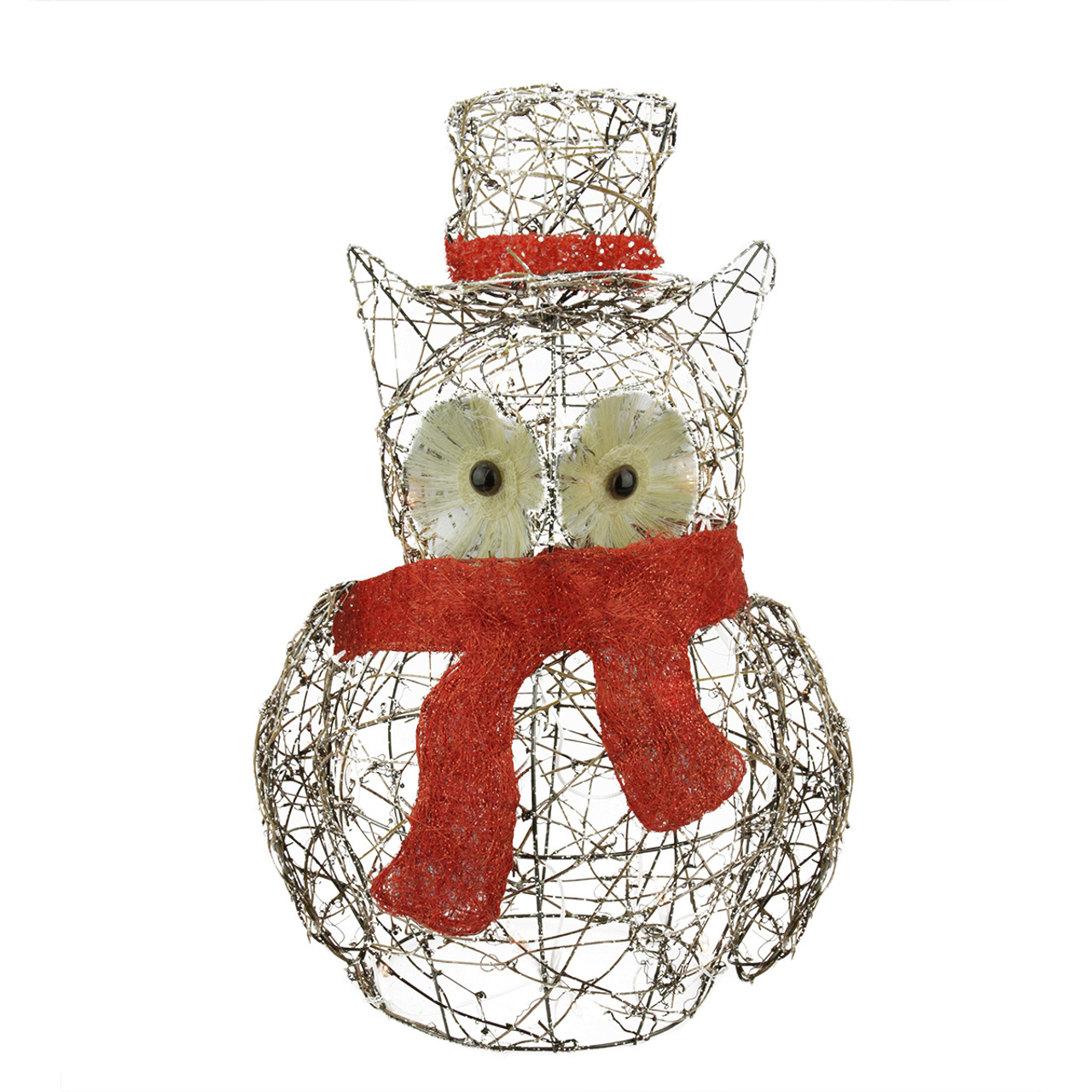 "21"" Lighted Glitter Rattan Owl Christmas Outdoor ..."