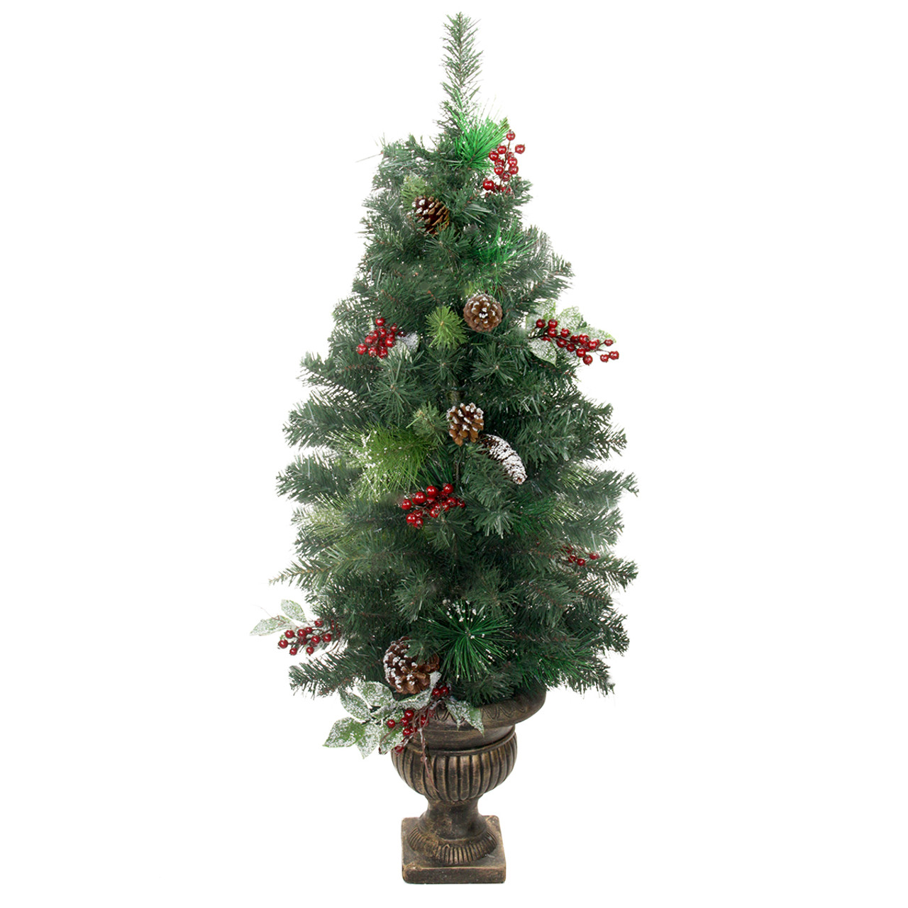 4 potted pre decorated frosted pine cone berry and twig artificial christmas tree unlit 31453837