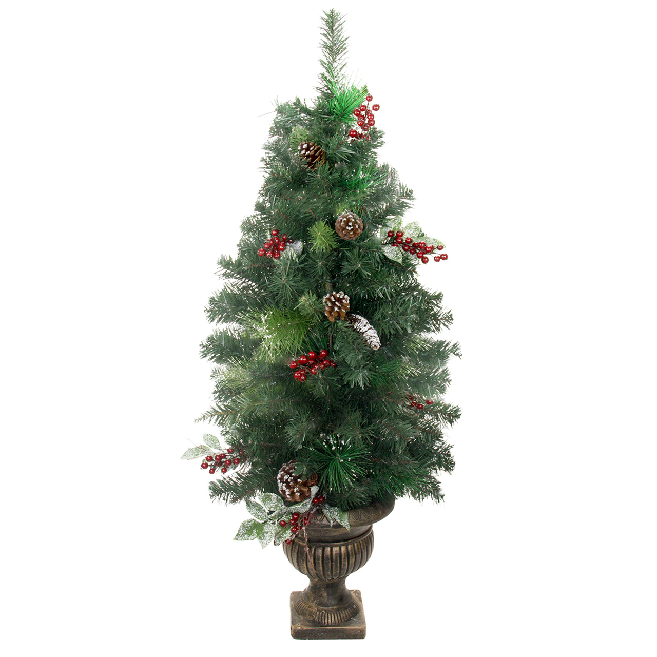 4 potted pre decorated frosted pine cone berry and twig artificial christmas tree unlit 31453837 - Pre Decorated Artificial Christmas Trees