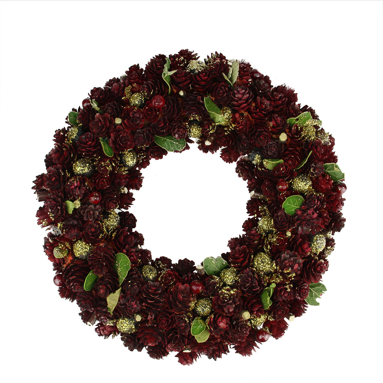 18 wine burgundy and gold glitter pine cone artificial christmas wreath unlit 31742605