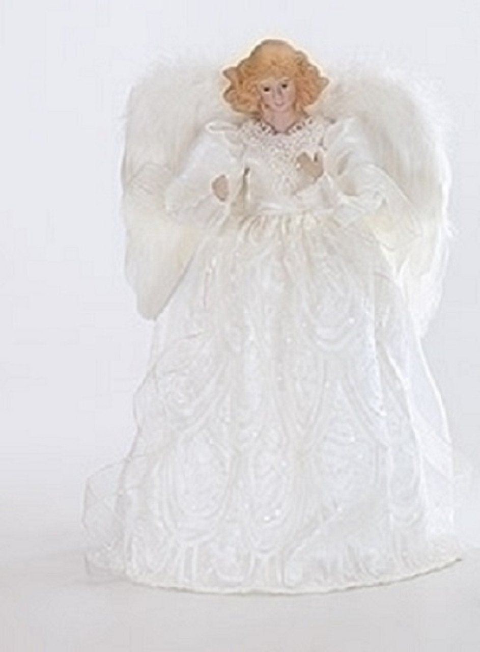 Snow White Porcelain Angel With Sequins Christmas Tree Topper 14